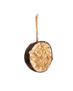 Halve kokosnoot met meelwormen